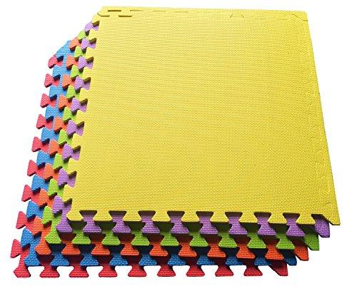 Ottomanson Multipurpose Interlocking Puzzle Eva Foam Tiles-Anti-Fatigue Mat 24 Sq. Ft, 24