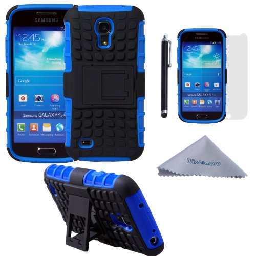S4 Mini Case, Wisdompro [2 Piece in 1] Dual Layers [Heavy Duty] Hard Soft Hybrid Rugged Protective Case with [Foldable Kickstand] for Samsung Galaxy S4 Mini (NOT S4 Fit) - Blue / Black