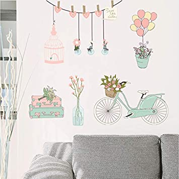 Moda rosa verde bicicleta jaula de pájaros globos pegatinas de ...