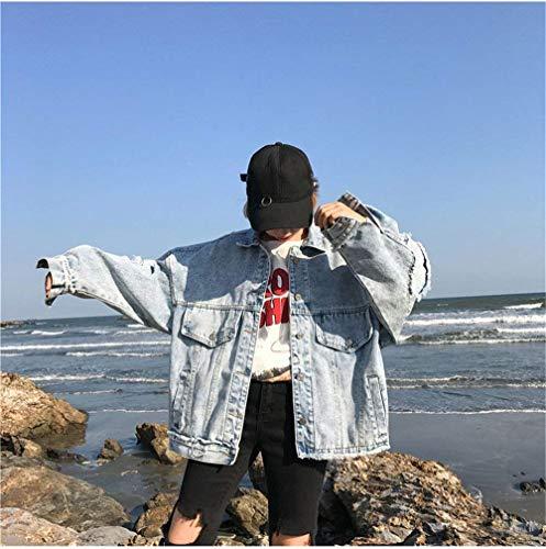 Glamorous Autunno Cavo Primaverile Cappotto Semplice Lunga Bavero Giacca Casual Haidean Vintage Denim Eleganti Strappato Fidanzato Giacche Blau Donna Outerwear Fashion Sciolto Jeans Manica S01aqS7