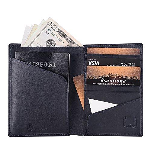 8Sanlione RFID Passport Holder,RFID Blocking Genuine NAPPA Leather Travel Passport Wallet (Blue)