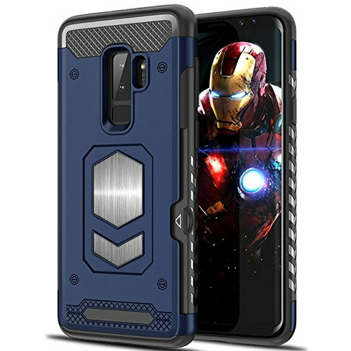 Galaxy S9 Plus Case:S9 Plus Case: Samsung Galaxy S9 Plus with Card Holder- Magnetic Back for car Mount (Bule)