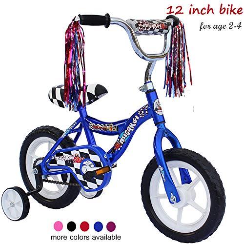 ChromeWheels Kids' Bike with Training Wheels and EVA Tire, Boys Bike for 2-4 Years Old, Blue