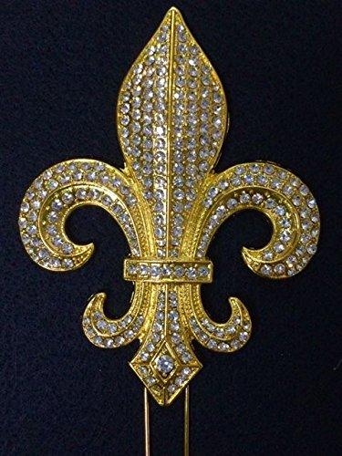 Fleur Large De Lis Crystal (Large Rhinestone GOLD Fleur De Lis Mardi Gras Saints Cake Topper Decoration)