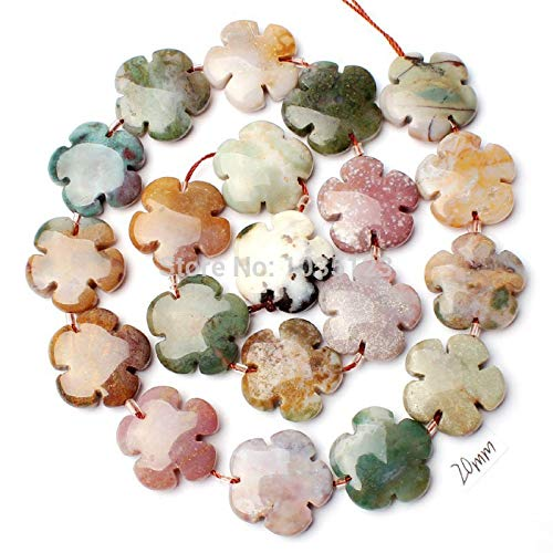 - Calvas 20mm Natural Indian Agates Agates Coin Flowers Shape DIY Gems Loose Beads Strand 20Pcs Jewelry Accessory w1326
