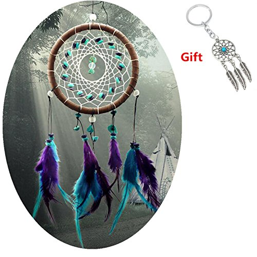 AWAYTR Forest Dreamcatcher Gift Handmade Dream Catcher Net With Feathers Wall Hanging Decoration Ornament Turquoise Stone Feather Dream Catcher c