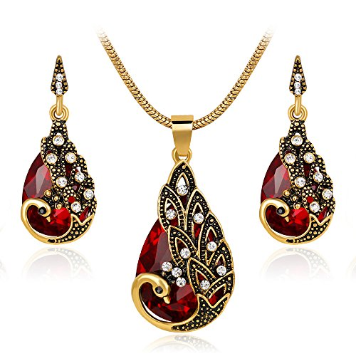 Ezing Women Gift Vintage Gold Plated Red Peacock Jewelry Set Pendant Necklace Earrings (red) (Peacock Jewelry Vintage)