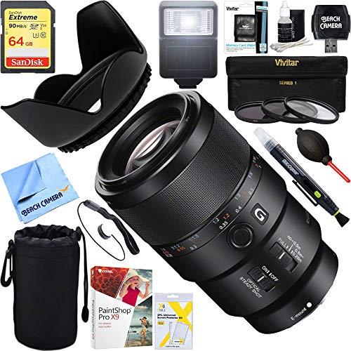 Sony (SEL90M28G - FE 90mm F2.8 Macro G OSS Full-Frame E-Mount Macro Lens + 64GB Ultimate Filter & Flash Photography Bundle
