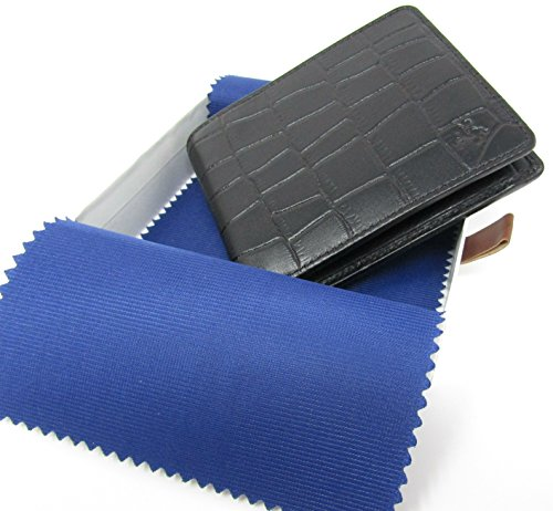 RFID Wallet Croc Leather Fraud Fold Bi Brown Moc Real Visconti Black Blocking Anti 6w5YqxUR0
