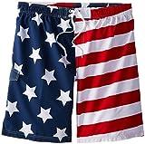 Kanu Surf Men's Big American Flag Extended Size Swim Trunks, Flag, 3X