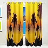 Vantaso Light Shading Window Curtains Beautiful Golden Sunset Scene Coconut Palm Tree And Sail Polyester 2 Pannels for Kids Girls Boys Bedroom Living Room 84 inch x 55 inch
