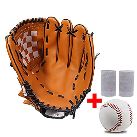 TimeBus Player Preferred Pro Series Youth & Adult Baseball Glove & Ball Combo, Free 1 Pair of Wrist Support, 3 Size, Brown (11.5, Worn on Right - Tpx Pitcher Glove