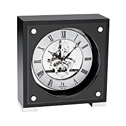 Seth Thomas Galileo Black Piano Finish Metal Case with Silver Skeleton Dial Square Desk and Table Clock
