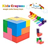 DIKAOU Magic Cube Toddlers crayon, Toddlers Palm- Grip Paint Crayons, Stackable Paint Crayons Toys, Washable Painting Pencil for Toddlers, Kids, Children (7 Color)