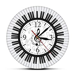 Onmyfly Piano Keyboard Treble Clef Wall Art Modern Wall Clock Musical Notes Black and White Wall Watch Music Studio Decor Pianist Gift,30 cm