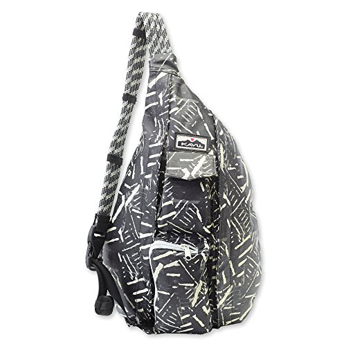 KAVU Ropette Sling Pack Water Resistant Coated Cotton Canvas with Synthetic Leather Trim - Carbon Copy