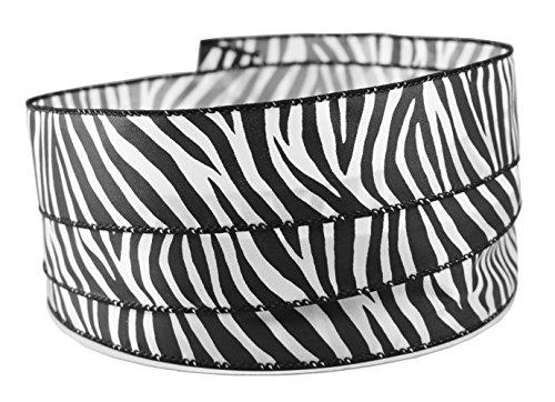 Zebra Print Satin Wired Ribbon #9-1.5