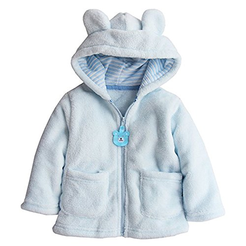 Toddler Baby Boys Girls Cartoon Fleece Hooded Jacket Coat with Ears size 12-18 Months (Blue)