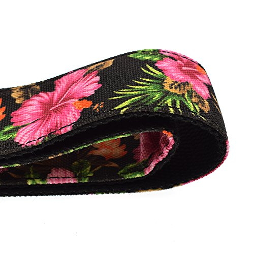 CLOUDMUSIC Ukulele Strap Hawaiian Hibiscus Roses Floral Strap For Soprano Concert Tenor Baritone (Hibiscus In Black) by CLOUDMUSIC (Image #3)