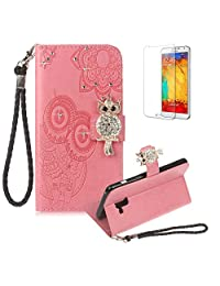 Funyye Pink Strap Cover for Samsung Galaxy A8 2018,Cute 3D Diamond Owl Pattern Design Magnetic Flip Wallet Detachable Glitter Case with Stand Card Holder Slots Cover for Samsung Galaxy A8 2018,Anti Scratch Full Body Protective Soft Silicone PU Leather Case for Samsung Galaxy A8 2018 + 1 x Free Screen Protector