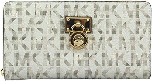 MICHAEL Michael Kors Women's Hamilton Vanilla Traveler Large Zip Around Clutch Wallet, Style 35F7GHXZ1B by Michael Kors