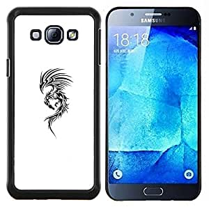 Eason Shop / Premium SLIM PC / Aliminium Casa Carcasa Funda Case Bandera Cover - Arte Tinta Negro Dragón Blanco Resumen - For Samsung Galaxy A8 ( A8000 )