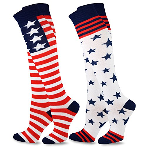 TeeHee Women Novelty Fashion American Knee High Socks 2 Pair Pack (Americana)]()