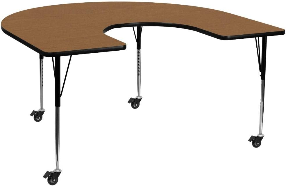 Flash Furniture Mobile 60''W x 66''L Horseshoe Oak Thermal Laminate Activity Table - Standard Height Adjustable Legs
