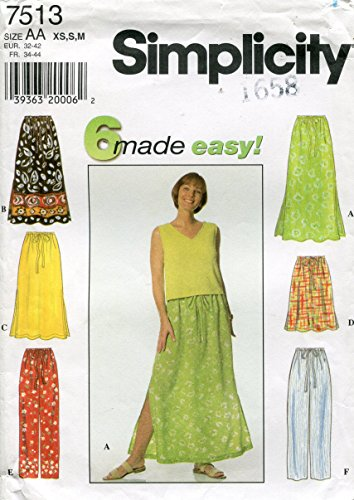 Simplicity Pattern 7513 Misses' Skirt and Pants, AA (XS-S-M)