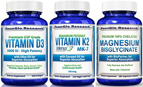 Chelated Mini - Bone & Cardio Health Bundle - Vitamin D3 5000 IU plus Vitamin K2 MK7 MenaQ7 plus Magnesium Glycinate (1 Bottle of Each/3 Total)