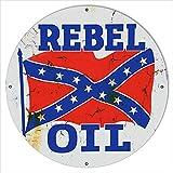 30x30 Distressed Rebel Motor Oil Reproduction Metal Sign