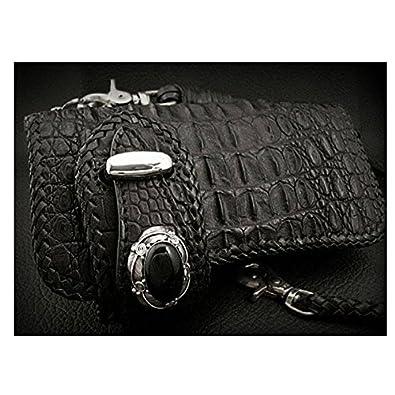 01b19d6e217b Amazon   ロングウォレット 長財布 ライダーズウォレット クロコダイル ブラック/黒 Black Genuine Crocodile Skin  Custom Biker Wallet lw2253   WILD ...