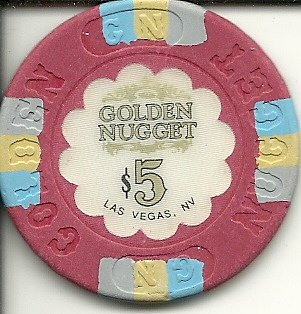 Golden Nugget Casino Chips ($5 golden nugget red vintage las vegas casino chip)