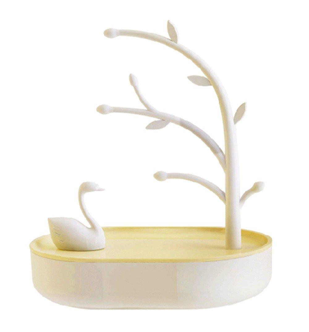 XXMANX Desktop jewelry storage rack and storage box jewelry organizer,For Necklaces,Earrings,Rings,Bracelets,Lovely swan shape. (Beige)