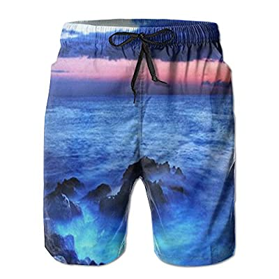 Blue Sea Novelty Graphic Art Of Nature Men's Novelty Print Summer Beach Short Board Shorts Swimming Trunks
