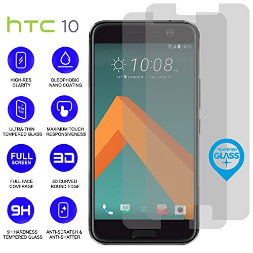 BisLinks 2X HD Tempered Glass Touch Screen Protector 9H Hardness for HTC 10 One M10 5.2