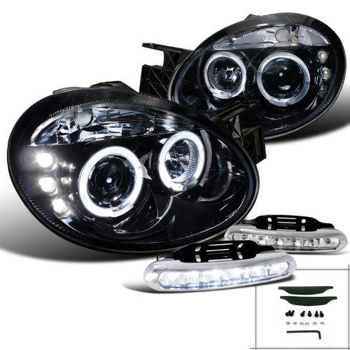 Halo Black Neon Projector (Glossy Black Dodge Neon Halo Rim Projector Headlights W/LED Fog)