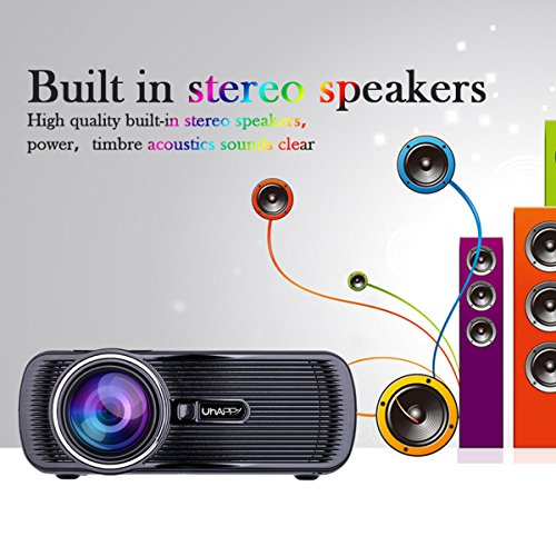 UHAPPY U80 Mini LED HD projector Portable projector (EN) - Black by U Happy (Image #7)