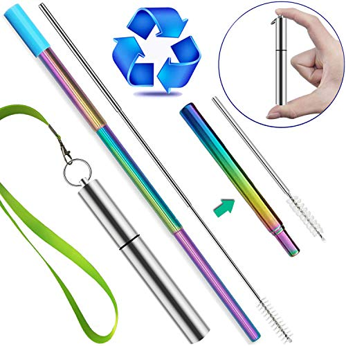 - Reusable Straws with Case, Jeminar Portable Metal Straws for Drinks with Case, Keychain Cleaning Brush Silicone tip and Lanyard, Stainless Steel Telescopic Straws Drinking Reusable Travel Straw Kids