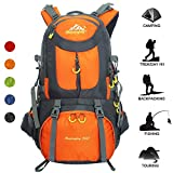 Travel Backpack Ucharge 50L Waterproof Hiking Backpack Outdoor Sport Daypack with a Rain Cover for Climbing Mountaineering Fishing Travel Cycling(Orange)