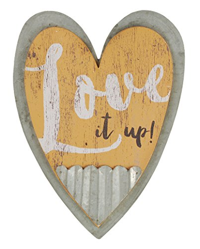 Love It Up Wood and Galvanized Tin Heart Shaped Wall Art Plaque Sign