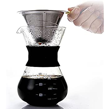 Coffee Maker & Filter Paper Bundle - Pour Over Coffee Dripper – Glass Carafe with Stainless Steel Mesh Filter – 100 Filter Paper Included