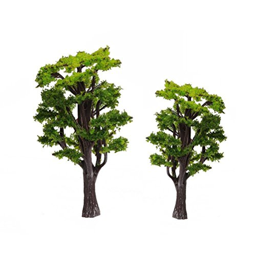 WINOMO 12pcs Model Trees Train Railways Architecture Landscape Scenery Scale 1:50 (Green) (Scenery Trains Model)