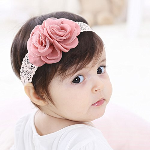 Kercisbeauty Baby Girls Pink Bows Headband Lace Flower Headwear for Toddler Babies Elastic Adjustable Head piece Wreath Halloween Holiday Sunday Headband (Headband Baby Rose)