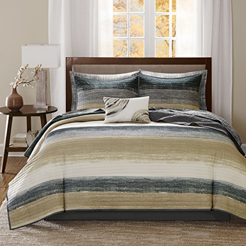 Madison Park MPE13-168 Essentials Saben Complete Coverlet and Sheet Set Twin Taupe