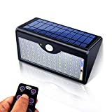 Motion Sensor Light Outdoor, 60 Led Solar, 5 Modes Remote Control,1300LM Waterproof Wide Angle, Wireless Super Bright Security Wall Lights for Driveway, Wall, Patio, Yard, Garden(Black)