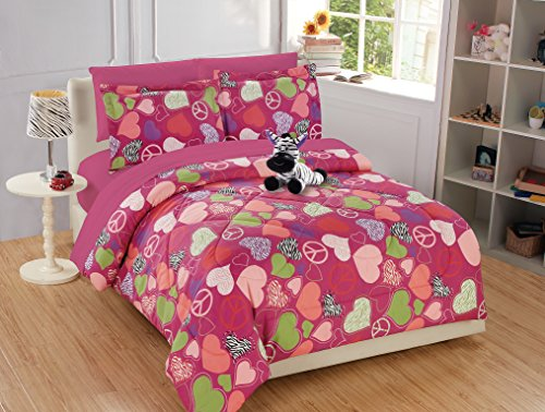 Fancy Collection 8pc Full Size Girls/Teens Comforter Set Hot Pink Purple Light Green White Black Zebra Print Peace Signs Hearts With Sheet Set and Furry Buddy Included New # Zebra Heart