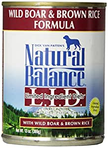 Dick Van Patten's Natural Balance L.I.D Limited Ingredient Diets Wild Boar and Brown Rice Canned Dog Formula, 13-Ounce, Pack of 12