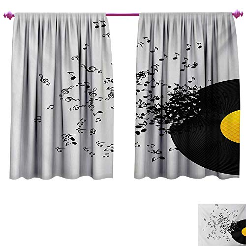 (cobeDecor Music Customized Curtains Abstract Design Flying Music Notes Disc Album Dancing Nightclub Print Room Darkening Wide Curtains W63 x L63 Ivory Black and Yellow)