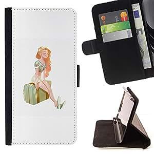 Momo Phone Case / Flip Funda de Cuero Case Cover - Chica estación Viajes Arte Maleta Pintura Verano - Sony Xperia Z2 D6502